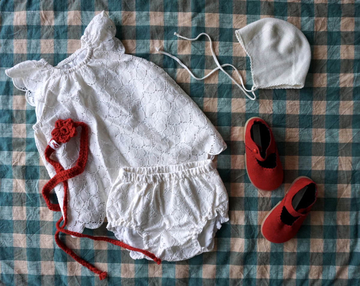 Baby Outfit – Lace & Red Mary Janes