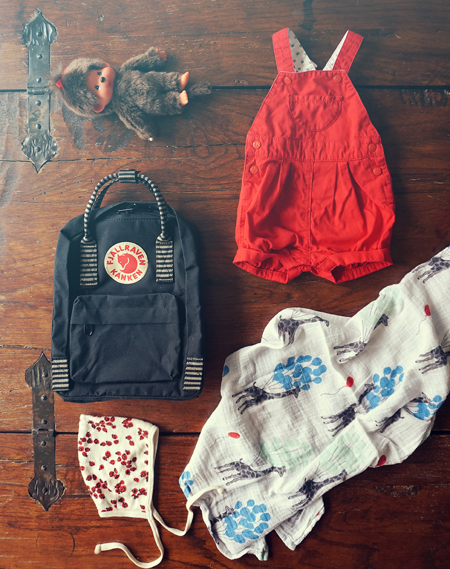 Baby Outfit – Red Dungarees & Monchichi
